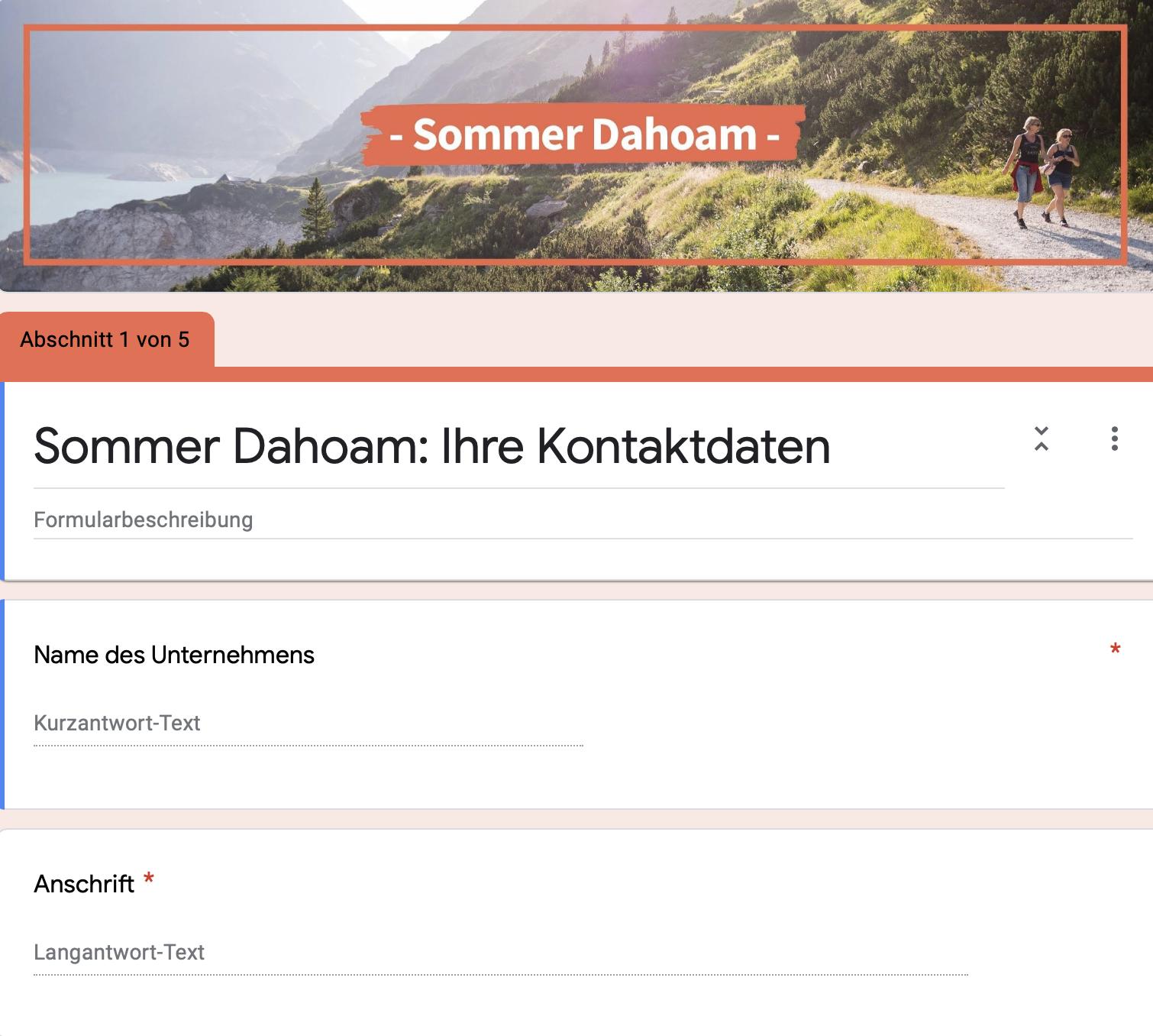 """Anmeldeformular zur Kampagne """"Sommer Dahoam"""""""